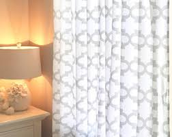Grey And White Curtain Panels Gray White Curtains Etsy