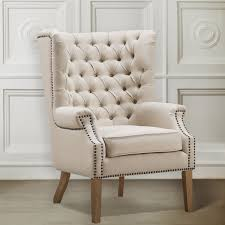 Wingback Chairs Leather Chair 60 Off West Elm Beige Tufted Wing Back Chairs Linen Wingback