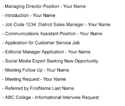 Subject When Sending A Resume By Email Best Formats For Sending Job Search Emails