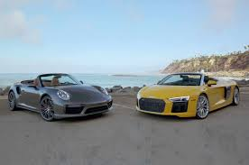 audi supercar convertible porsche 911 turbo cabriolet goes head 2 head with audi r8 spyder