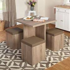 square dining table set 4 seats ottoman storage chairs small