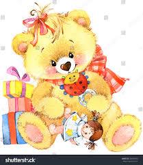 teddy bear toy background kids birthday stock illustration