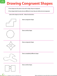 Similar And Congruent Figures Worksheet Drawing Congruent Shapes Worksheet Education Com