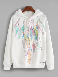 feather print hooded sweatshirt sweatshirts online feather