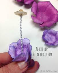 watercolor paper flower tutorial thread bead and button for flower stamen http pluckingdaisies