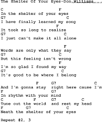 country music the shelter of your eyes don williams lyrics and chords