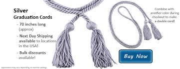 graduation cord honors graduation s silver honor cords for commencement