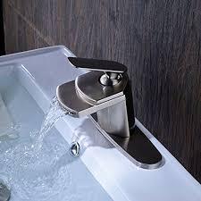senlesen nickel brushed single handle waterfall bathroom sink
