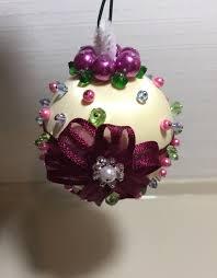 victorian silk crystal christmas ornament silk beaded pearl
