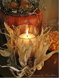 Fall Decorating Projects - easy and inexpensive pottery barn inspired indian corn candle