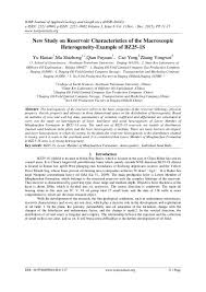 Oil Field Resume New Study On Reservoir Characteristics Of The Macroscopic Heterogenei U2026