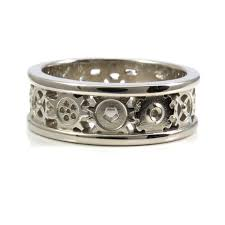 gear wedding ring steunk gold gear ring mens palladium white gold wedding