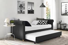 furniture dark linen upholstered daybed with trundle bed and