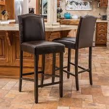 amazon com auburn bonded leather backed bar stool with nail head