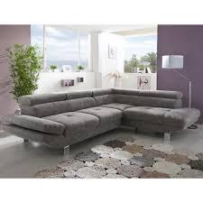canapé d angle gris tissu canapé d angle gris chiné en tissu vincenzio angle à gauche achat