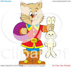 royalty free rf clipart illustration cat puss holding