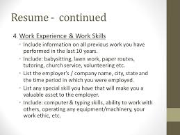 Previous Work Experience Resume Applying For A Job Resume U2013 Ppt Download