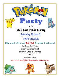 drydenwire pokémon party to kick off kids u0027 club at shell lake