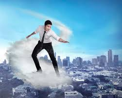 Water Challenge Asian Asian Business Person Flying With The Cloud Stock Photo Image Of