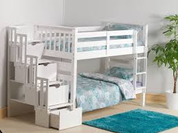 mission staircase storage single bunk bed in white pine amazon co