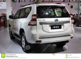 land cruiser prado car white toyota land cruiser prado suv car rear view editorial image