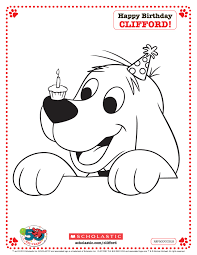 clifford printable birthday pictures of scholastic coloring pages