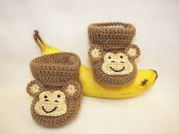Monkey Hook Baby Booties Monkey Nb To 6 Months Finely Finished Crochet