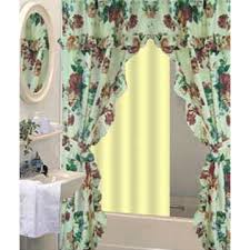 Double Swag Shower Curtain With Valance Printed Double Swag Shower Curtain