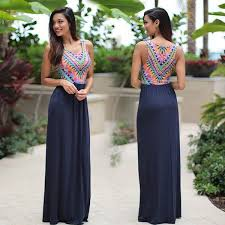 navy maxi dress with tribal top