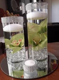 Floating Candle Centerpieces by Items Similar To Bling Cylinder Floral Floating Candle Centerpiece