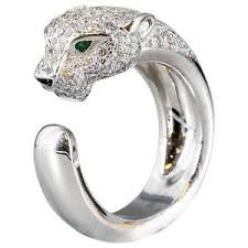 cartier rings ebay images Cartier panthere diamond emerald onyx white 18k gold band ring ebay jpg