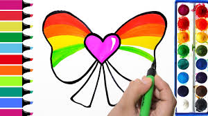 rainbow heart bow coloring page learn colors for girls and kids