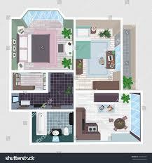 house perspective with floor plan interior apartment perspective floor plan top stock vector