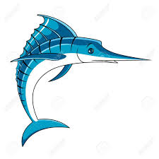 jumping blue marlin fish with curled and open spear shaped