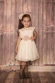 ivory beige chiffon flower dress rustic wedding country