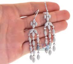 Chandelier Gold Earrings 14k White Gold 5 36 Ct Diamond Womens Chandelier Earrings