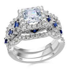 Sterling Silver Wedding Ring Sets by Sterling Silver With Gemstones Band Engagement U0026 Wedding Ring Sets