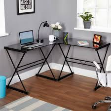 glass computer desk with shelves real wood home office furniture