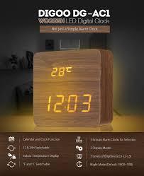 digoo dg ac1 wooden led digital alarm clock voice control desk