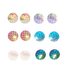 mermaid earrings colored iridescent mermaid scaled stud earrings s us