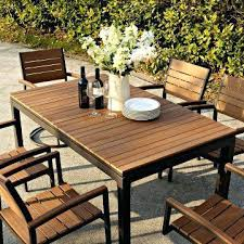 Wooden Patio Dining Set Faux Wood Patio Table For Synthetic Wood Outdoor Furniture