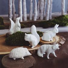 porcelain 5 white forest animals tree ornaments