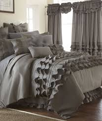 Ruffled Bed Set 24 Platinum Ruffled Comforter Set