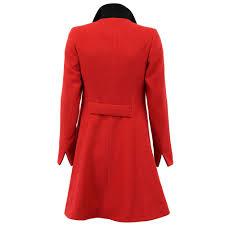 la s coat womens jacket wool look military long button warm