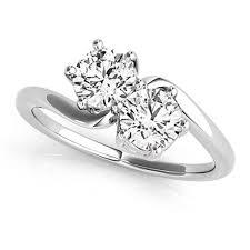 two diamond ring diamond solitaire two ring 14k white gold 1 00ct allurez