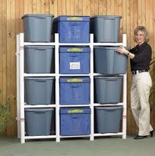 Storage Bin Shelves by Pvc Pipe Storage Rack Plans Free Shipping Box Organizer Pvc