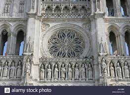 the rose window amiens cathedral picardy france stock photo