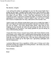 apology love letter apologize letter to girlfriend sample apology