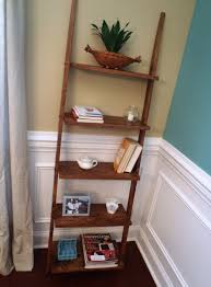 wondrous white wainscoting also brown wooden ladder shelf as