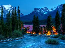 Beautiful Mountain Houses by Mountains Mountains Beauty Evening Lights Woods Cottage Peaceful